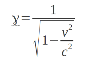 Lorentz transformation factor